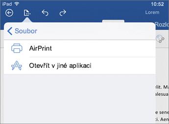 Dialogové okno Tisk umožňuje ve Wordu pro iOS dokument vytisknout nebo ho otevřít v jiné aplikaci.