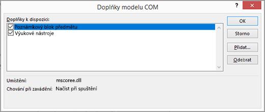Podokno doplňků modelu COM