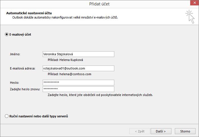 Při vytváření nového profilu pro Outlook přidejte e-mailový účet pomocí Automatického nastavení účtu.