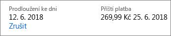 Odkaz na zrušení a předplatné Office 365 pro domácnosti.