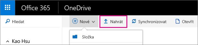 Nahrání souborů na OneDrive pro firmy.
