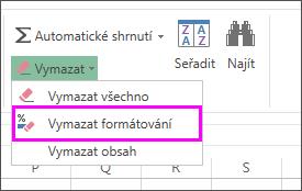 Odebrání formátování pomocí tlačítka Vymazat formátování