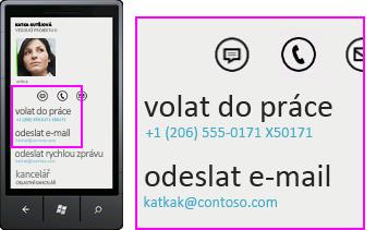 Snímek obrazovky s činnostmi, jako je služební volání pomocí Lyncu pro mobilní klienty