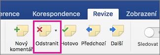 Karta Revize se zvýrazněnou ikonou pro odstranění komentáře