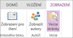 Nabídka Zobrazení ve OneNote Online s vybranou možností Verze stránek