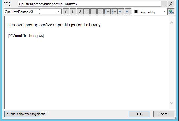 Pracovní postup textu e-mailové zprávy s obrázkem