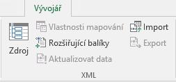 Příkazy XML na kartě Vývojář