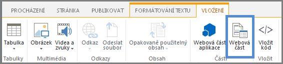Vložení webové části