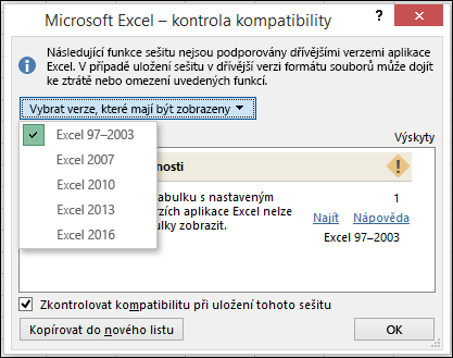 Dialogové okno Kontrola kompatibility aplikace Excel