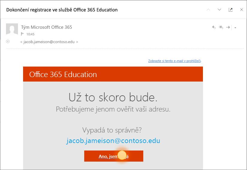 Snímek poslední ověřovací obrazovky při přihlašování k Office 365