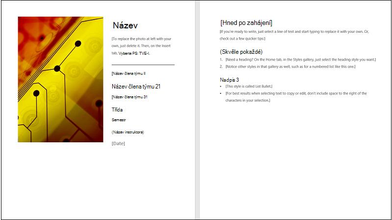 Obrázek obálky šablony pro společné sestavy