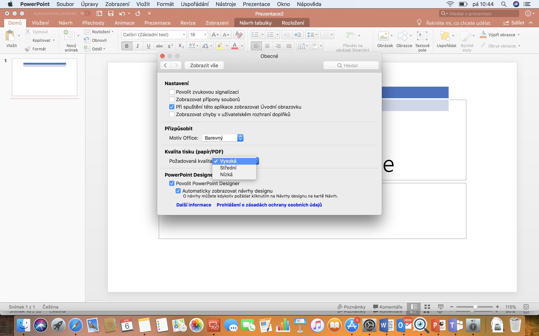 Snímek obrazovky s nastavením Kvalita obrázku