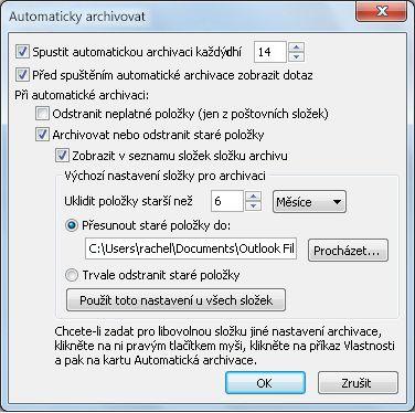 Dialogové okno Nastavení automatické archivace