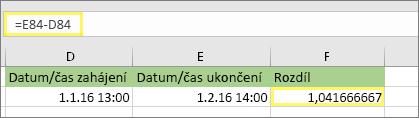 = E84-D84 a výsledek 1,041666667