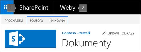Levý horní roh obrazovky SharePointu 2016 se spouštěčem aplikací a názvem