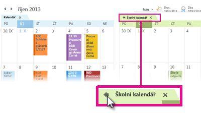 Příkaz Zobrazit v překryvném režimu na kartě kalendáře