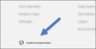 Tlačítko jazyk v levém dolním rohu každé stránce SOC.