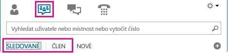 Snímek obrazovky se zobrazením Chatovací místnosti vhlavním okně Lyncu, se zvýrazněnými kartami Členství aSledované