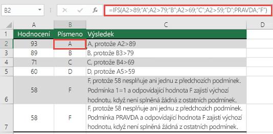 """Funkce IFS – příklad Hodnocení.  Vzorec v buňce B2 je =IFS(A2>89;""""A"""";A2>79;""""B"""";A2>69;""""C"""";A2>59;""""D"""";PRAVDA;""""F"""")"""