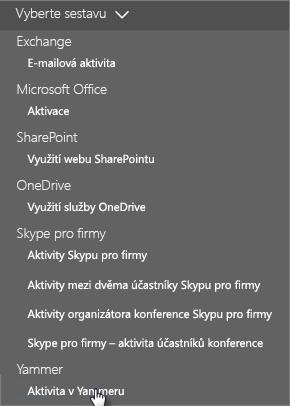 Snímek obrazovky s nabídkou Vybrat sestavu na řídicím panelu Sestavy Office 365
