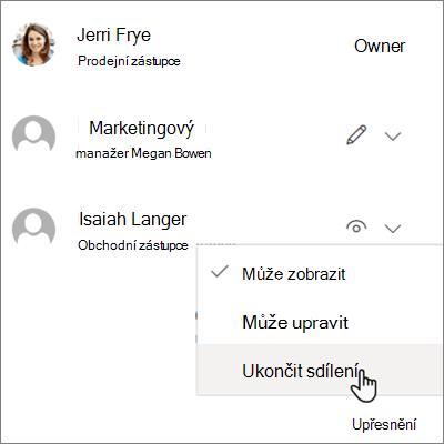 Snímek obrazovky s postupem přestat sdílet s jedním uživatelem v aplikaci OneDrive pro firmy