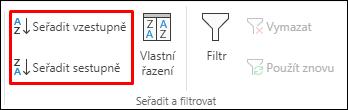 Tlačítka pro vzestupné a sestupné řazení na kartě Data v Excelu