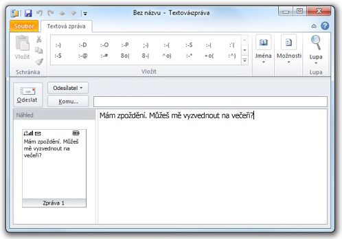 Okno s textem zprávy SMS