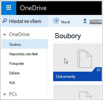 Snímek obrazovky složky Dokumenty ve OneDrivu