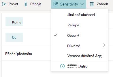 Tlačítko Citlivost s možnostmi citlivosti v Outlooku pro web