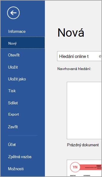 Soubor > Nový