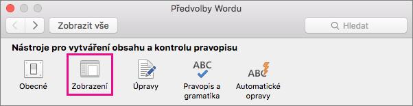 Předvolby zobrazení změníte, když v Předvolbách Wordu kliknete na Zobrazení.