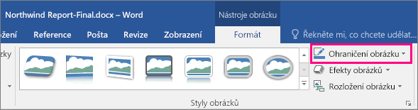 Možnost Ohraničení obrázku zvýrazněná na kartě Nástroje obrázku – Formát
