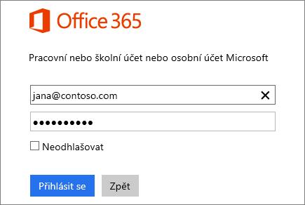 Snímek obrazovky s přihlašovacím podoknem Office 365