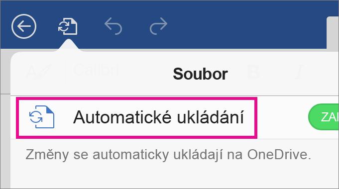 Příkaz AutoSave ve Wordu pro iPad