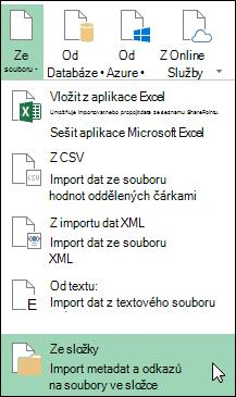 Power Query > ze souboru > ze složky možnosti