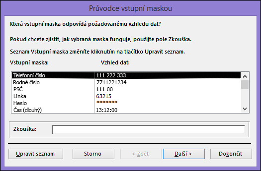 Průvodce vstupní maskou v desktopové databázi Accessu