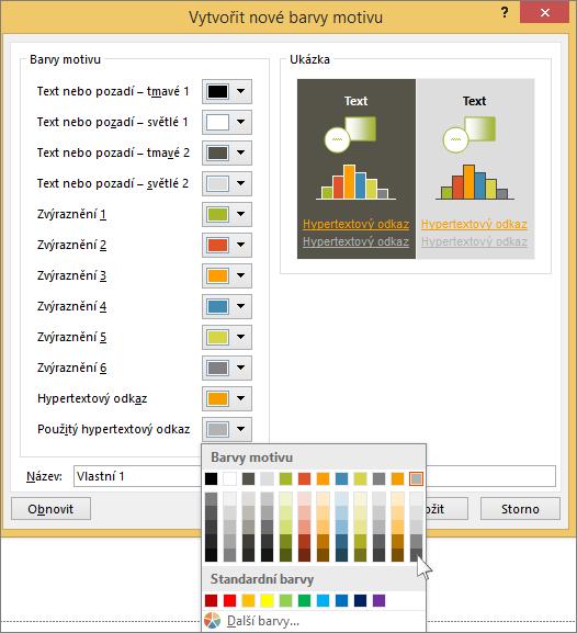 zobrazuje výběr barvy pro hypertextový odkaz v powerpointu