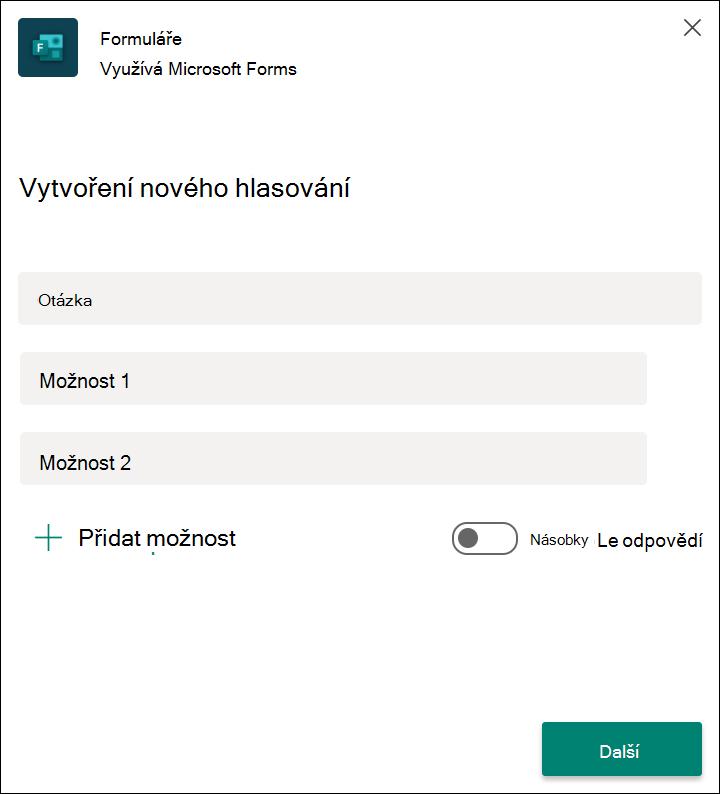 Rychlé výsledky hlasování formulářů v Microsoft Teams