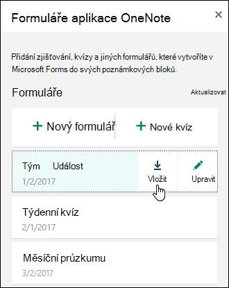 Seznam formulářů ve formulářích pro OneNote pro web panel