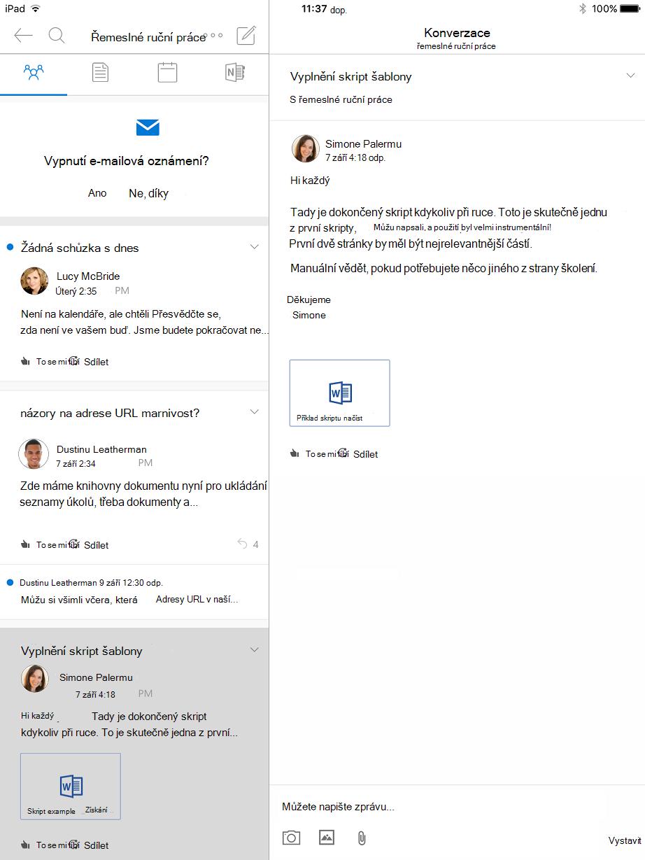 Zobrazení konverzace v skupiny v Outlooku pro iPad
