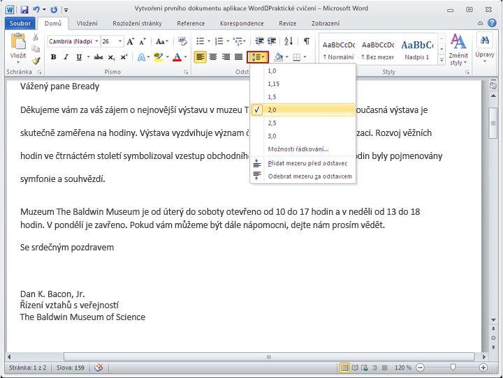 Dokument aplikace Word 2010