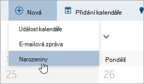 Snímek obrazovky s novou nabídku s ukazatelem myši možnost, aby narozeniny