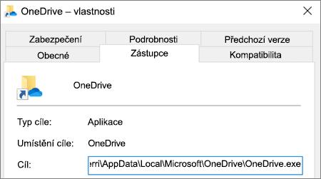 Snímek obrazovky znázorňující nabídku vlastností aplikace OneDrive