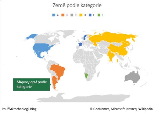 Mapový graf Excelu podle kategorie