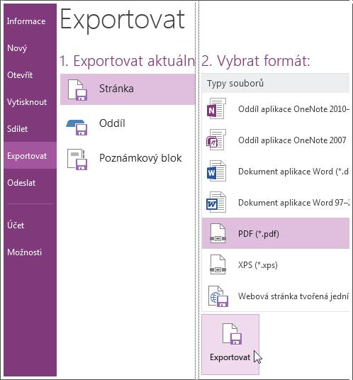 Poznámky můžete exportovat do jiných formátů, například PDF, XPS nebo wordový dokument.