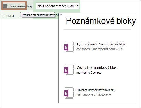 Zobrazení seznamu poznámkových bloků