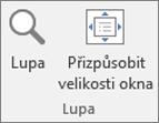 Skupiny na pásu karet aplikace PowerPoint Lupa