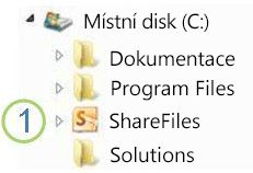 Ikona Sdílená složka v Průzkumníku Windows