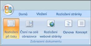 Snímek obrazovky znázorňuje skupinu zobrazení dokumentu s vybranou možností rozložení při tisku. Další dostupné možnosti jsou čtení na celé obrazovce, rozložení webové stránky, přehled a koncept.