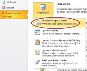 Customize Business Contact Manager Record Types command in Outlook Backstage view